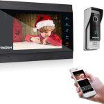 TMEZON Wifi IP Vidéo Interphone Visiophone,7 Pouce Moniteur et 1x1200TVL Sonnette de Caméra Filaire Vision Nocturne,Déverrouillage...